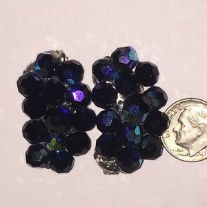 Vintage dark blue purple cluster beaded earrings